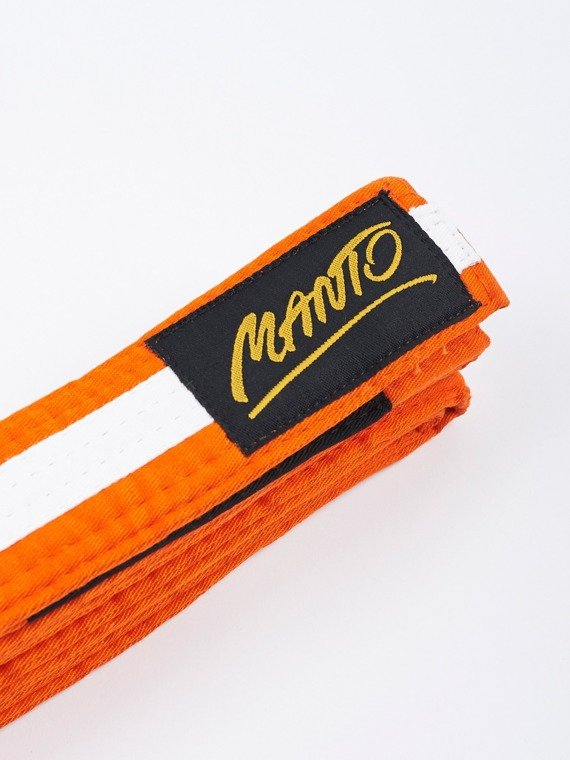 MANTO kids belt BJJ TAG orange with white stripe